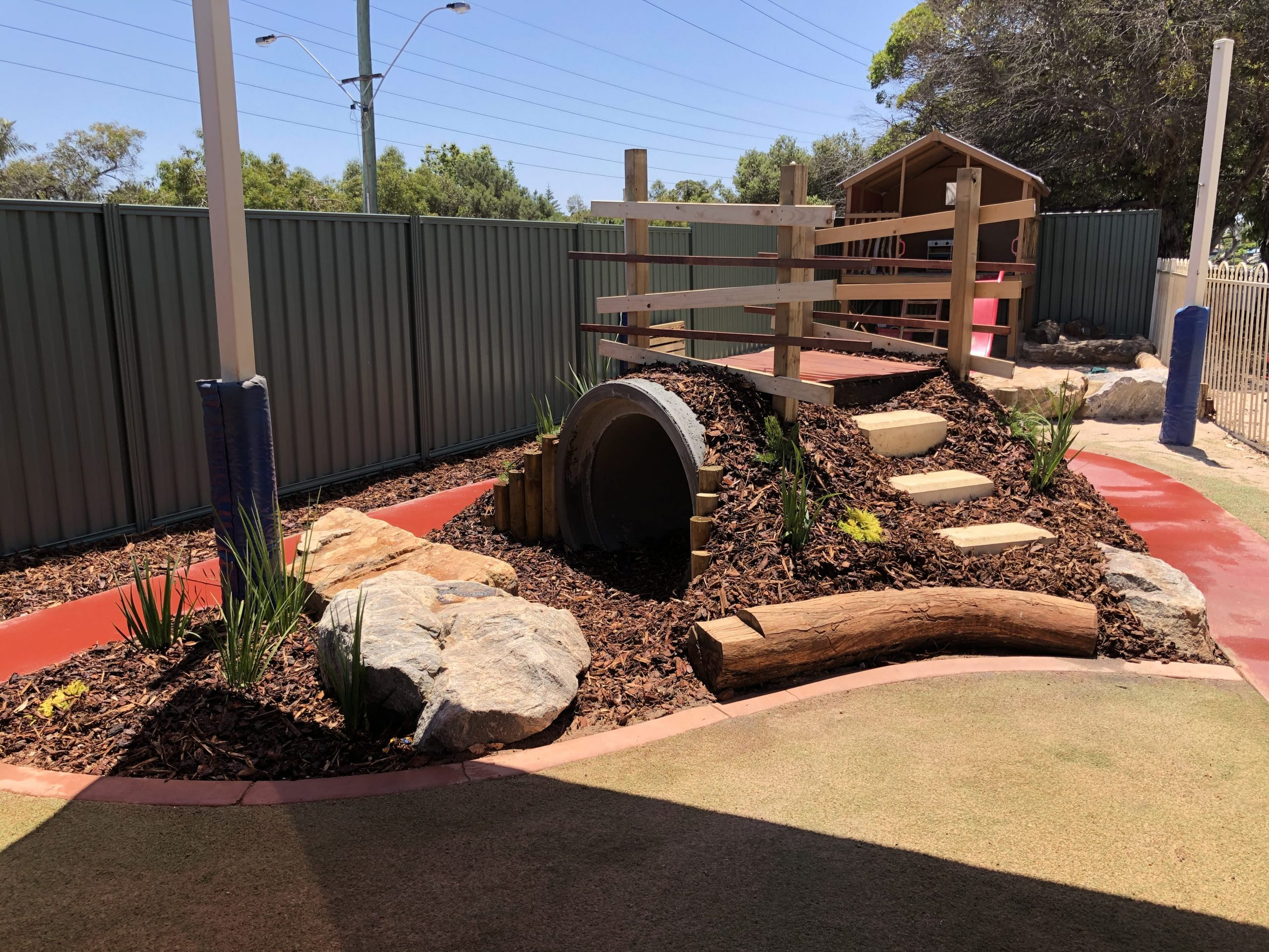 Playful garden landscaping for a daycare.
